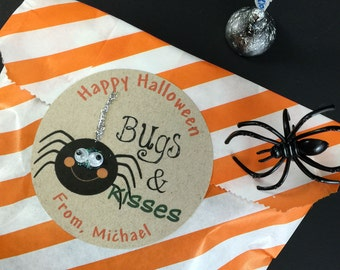 Halloween Goodie Bag Stickers, Spider Stickers, Trick or Treat Bag Stickers, Bugs & Kisses, Halloween Party Favor Stickers, Halloween label
