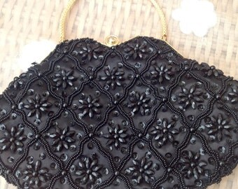 Vintage 1950's Black Sequin Evening Bag