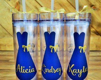 Bridal Party Tumblers // 16oz Skinny Tumblers // Bridesmaids // Maid of Honor // Thank you gift // CUSTOM COLORS AVAILABLE