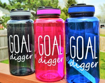 Goal Digger Water Bottle // Funny Water Bottle // Add Time Tracker // 34oz Plastic Water Bottle  BPA Free // CUSTOM COLORS Available