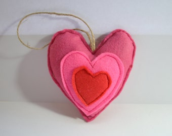 Felt Lavender heart, felt heart decoration, embroidered hanging heart, fragrant heart, red pink lavender heart