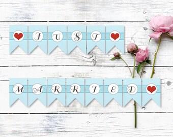 Just Married Wedding Flag Banner - bunting, flag banner, wedding banner, INSTANT DOWNLOAD