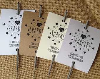 Set Of 12 Personalised Wedding Sparkler Covers