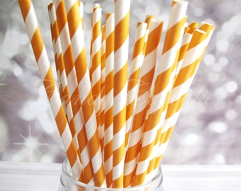 ORANGE WHITE STRIPE, 25 Paper Straws With Orange & White Stripes