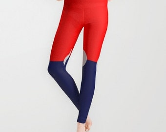 Red White Blue Pattern Colorblock Leggings Polyester Spandex Antimicrobial Yoga Jogging Leggings