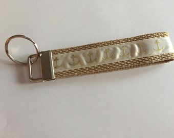 Key Chain / Wristlet Gold Tan Anchor / CHARITY DONATIONS