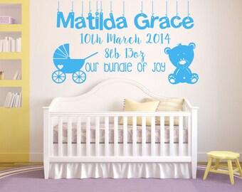 Baby, Nursery, Personalised, Bundle of Joy, Teddy, Pram, children's Wall Art Vinyl Decal Sticker