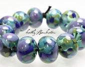 Blue Green Purple Lampwork Beads, Blue Frit Beads, Multi Color Blue Beads, Blue Lampwork, Frit Beads, Kathys Bead Shop, Spring Beads