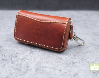 leather key case/holder with zipper opening-------buckle design