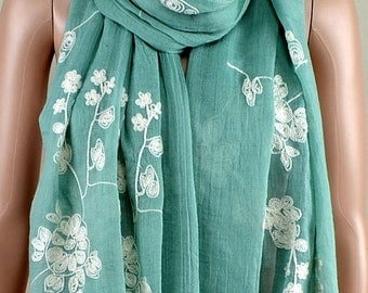 Light green cotton scarf, three-dimensional embroidery scarf, cotton scarf, shawl, women decorative accessories