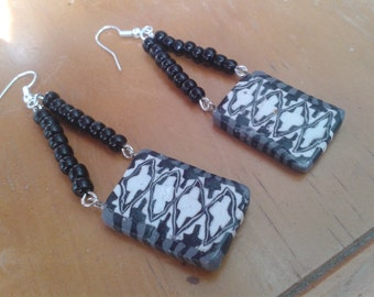 Aztec Style Hand crafted Beaded Earrings
