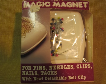 "4"" Magic Magnet for pins,needles,clips,nails,tacks,etc. , comes with belt clip for hands free working,pin cushion replacement"