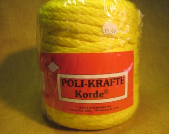 1 skein 6mm yellow macrame cord, 300ft, Hurculon texturized polypropylene, colorfast,washable,weatherproof, made in USA