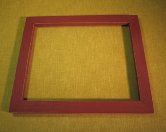 8x10 rustic brick red wood frame ,no glass, for needlework or crafts