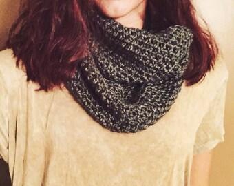 Dark Gray infinity eternity cowl neck warmer winter scarf.