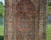 Antique Persian Rug // Senneh Kurd W/ Center Medallion & Rustic Colors // Size 4x7