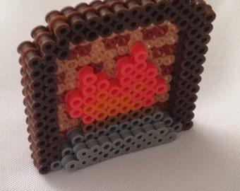 Perler Bead 3D Dollhouse Brick Lit Fire Place