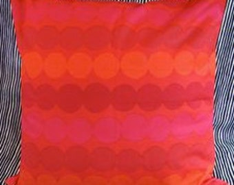 "Handmade Marimekko Rasymatto red cotton pillow case, 18"" Finland"