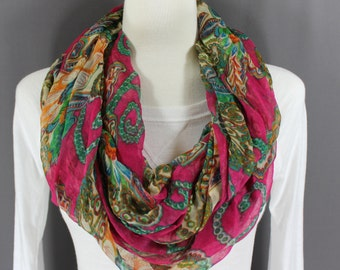 Magenta paisley floral pattern lightweight gauzy infinity loop cowl long scarf fall autumn Fuchsia Pink