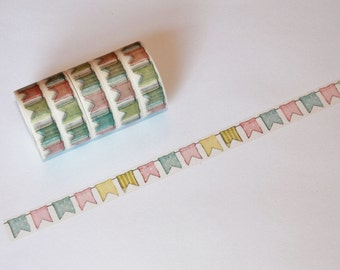 NEW! Pastel Bunting Flags Banner Washi Tape Rolls