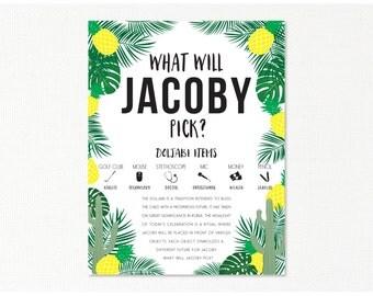 Doljabi Board - Korean First Birthday - custom digital printable - Tropical Hawaiian - typography print - dohl poster - yellow green