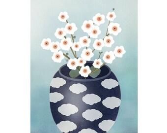 "Original Folk Art Still Life - Giclee Print "" Apple Blossoms"""