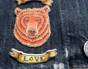 REDUCED True Love Tattoo Bear Brooch