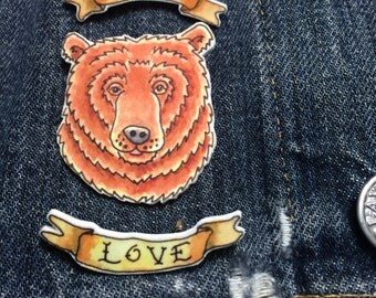 True Love Tattoo Bear Brooch