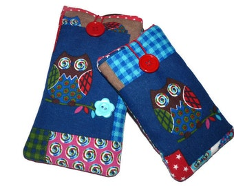 iPhone 6s Pouch Owl fabric / iPhone 6s cover  / Padded i6 case  / i6 phone Pouch Owl Fabric