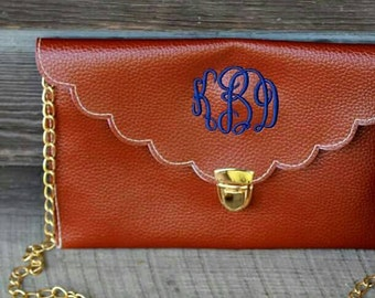 Monogrammed Crossbody Purse- Dark Brown- Camel- White