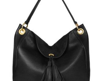 Leather Hobo Bag, Black Leather Hobo Bag, Leather Hobo Handbag