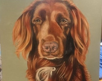 Pet Portrait Dog Portrait Dog Painting Dog Art Custom Oil Portrait Painting stretched canvas from photograph