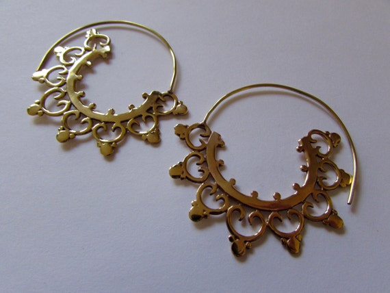 Big Spiral Brass Earrings, dots and curls handmade, Tribal Earrings, Big Earrings, Gypsy Jewelry, Free, Gift boxed, Free UK postage BG11