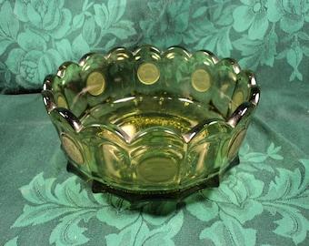 Green Fostoria Coin Glass Centerpiece Serving Bowl