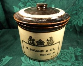 E Swasey and Co Antique Stoneware Crock, Rustic Primitive Decor