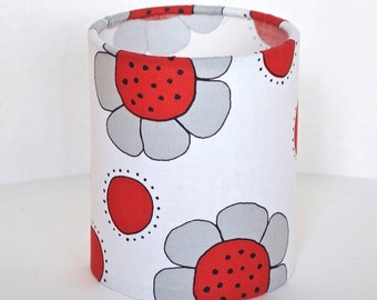Lantern Night Light in Retro Daisies Fabric - Safe Battery Operated Tea Light