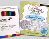 The Coloring Cafe™ Inspired Heart-Coloring Book for Grown-Ups Adult Coloring Book Kit with 18 Colored Pencils