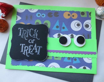 Card - Handmade 3D Halloween Card - Trick or Treat Card - 3D Goggling Eyes Happy Halloween Greeting Card - Fun Whimsical Halloween Card