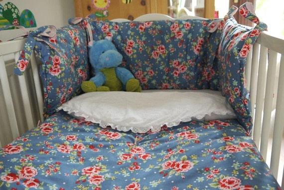 Crib Quilt + Crib Bumper 2 Piece SET for Baby Girl. Handmade Cotton Blue Rose Flower Crib Blanket - Nursery Bedding \ Toddler Nursery Decor