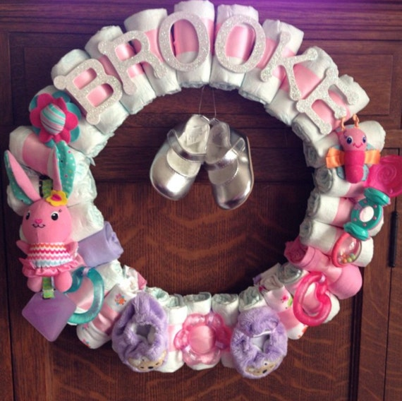 Baby girl diaper wreath baby shower decor custom theme custom for Baby shower decoration ideas with diapers