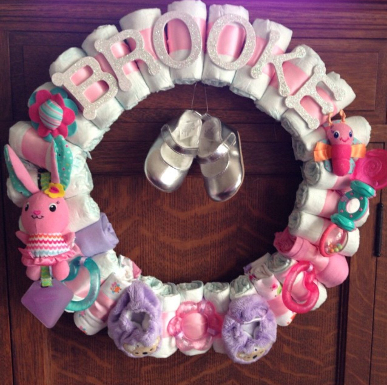 Baby Girl Diaper Wreath-Baby Shower Decor-Custom Theme-Custom