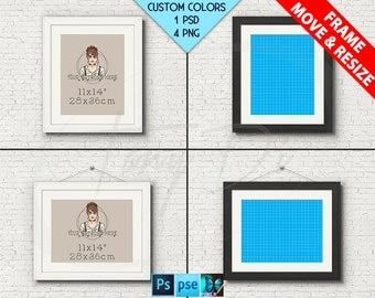 11x14 #W06 Movable White Black Wood Portrait Landscape Frame on Brick Wall, 4 Print Display Mockups PNG PSD PSE Opening 28x36cm Custom color