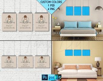 8x10 #WP06 Set of 3 Portrait & Landscape Poster Mockups on Interior Wall, Metal Binder Clip, 4 Unframed Print Display Mockups PNG PSD PSE