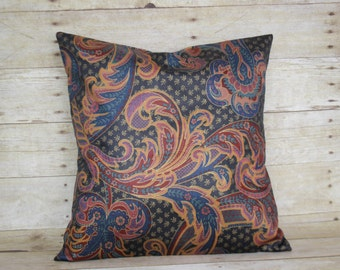 Navy floral print pillow cover