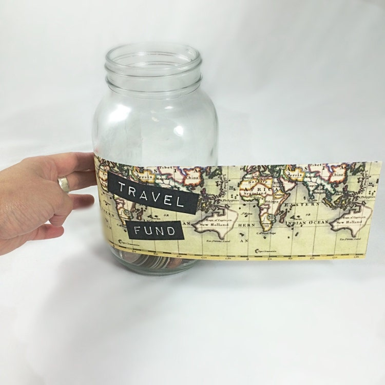Travel fund printable label for piggy bank glass by for Travel fund piggy bank