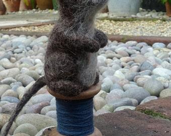 Needle Felted Mouse on Cotton Reel- Handmade by Velvetmushroom