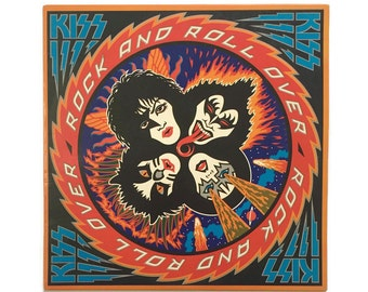 """Kiss, """"Rock and Roll Over"""", vinyl record album, classic rock LP, 1970s, metal, gene simmons, paul stanley, ace frehley, calling dr love"""