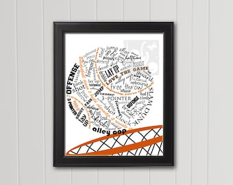 BASKETBALL Typography Art Sports Theme Wall Decor Basketball Decor Sports Decor 8x10 INSTANT DOWNLOAD Printable Art