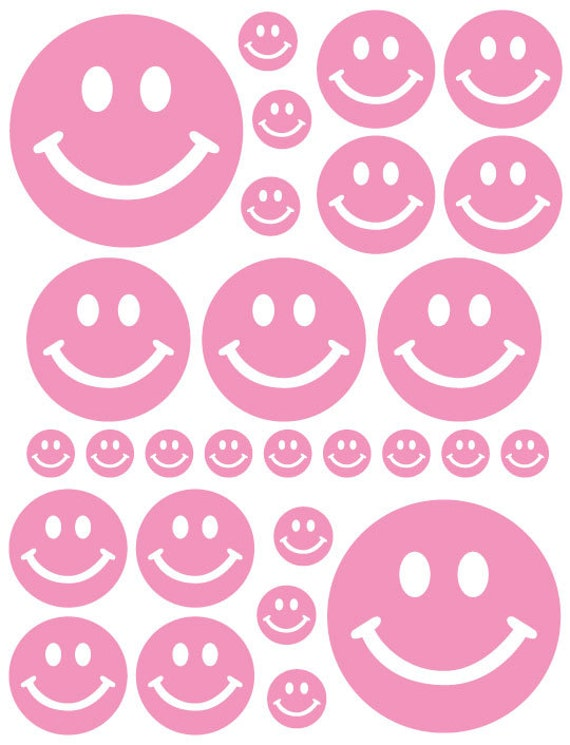 56 Light Soft Pink Smiley Face Vinyl Polka Dots Bedroom Wall Decals Stickers Teen Nursery Dorm Room Removable Custom Made Easy to Install