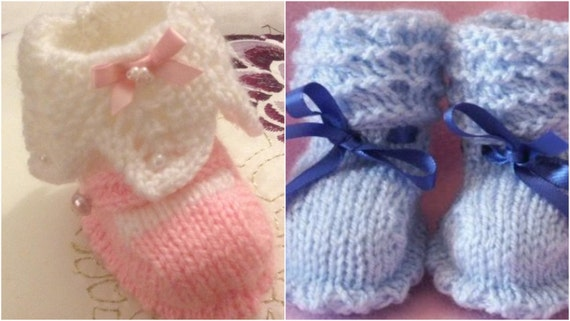 Baby Knitting Wavy Top Booties and Lacy Top Mary janes